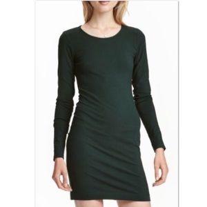 H&M hunter green long sleeve bodycon mini dress